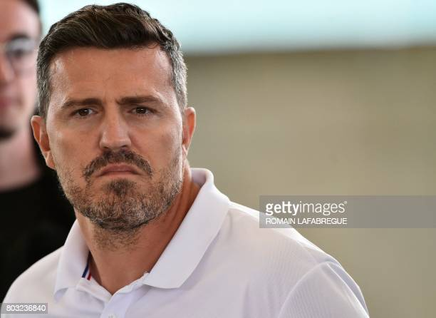 SaintEtienne's Spanish head coach Oscar Garcia looks on during a press conference to introduce the new jersey of the Ligue 1 football team in L'Etrat...