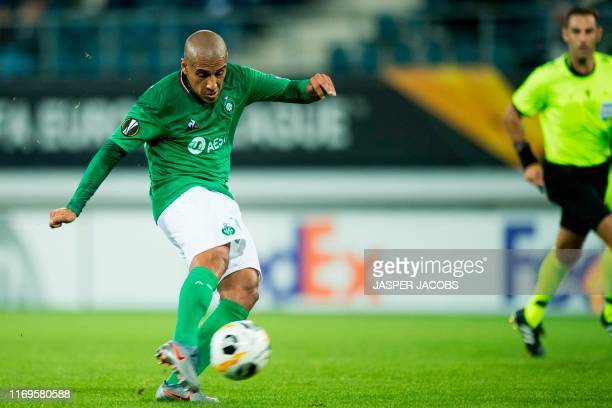Saint-Etienne's Tunisian forward Wahbi Khazri scores the 1-1 goal during the UEFA Europa League Group I football match between KAA Gent and...