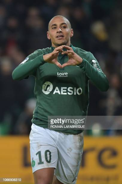 SaintEtienne's Tunisian midfielder Wahbi Khazri celebrates after scoring a goal during the French L1 football match between SaintEtienne and Nantes...