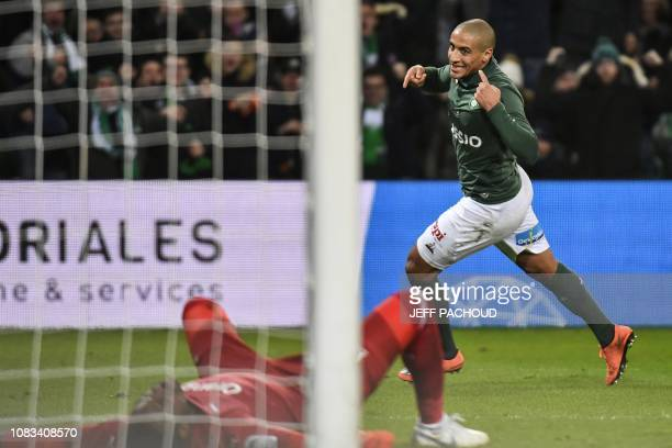 SaintEtienne's Tunisian midfielder Wahbi Khazri celebrates after scoring a goal during the French L1 football match between AS SaintEtienne and...