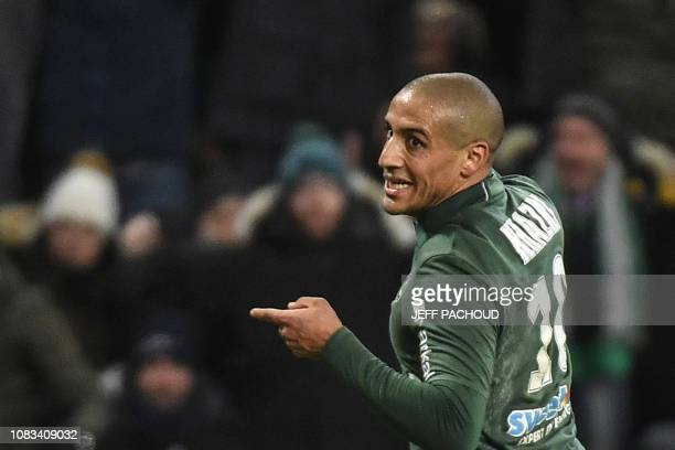 Saint-Etienne's Tunisian midfielder Wahbi Khazri celebrates after scoring a goal during the French L1 football match between AS Saint-Etienne and...