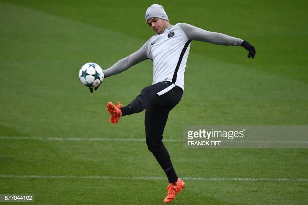 SaintGermainenLaye west of Paris SaintGermain's French midfielder Hatem Ben Arfa controls a ball during a training session at the Camp des Loges...