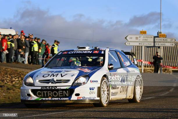 Saint-Julien-du-Gua, FRANCE: Austrian driver Manfred Stohl steers his Citroen Xsara WRC during the third stage of the the Monte-Carlo Rally 75th...