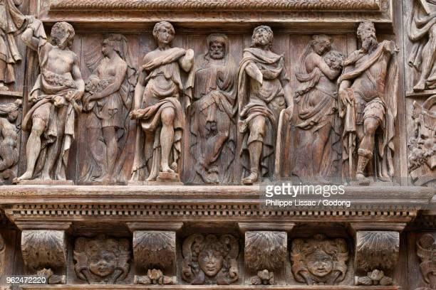 Saint-Maclou church, Rouen, France. Detail of the door reliefs.