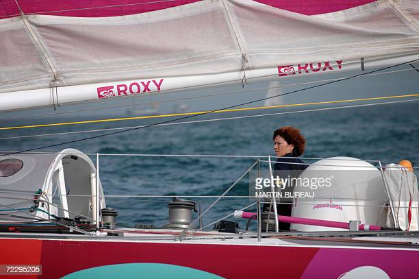 French skipper Anne Liardet sails aboard her Imoca class monohull Roxy after the start of the solo sailing race Route du Rhum Banque Postale from...