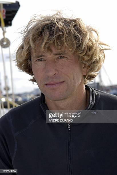 French skipper Joe Seeten poses on his Class 40 monohull TMI Technologie 24 october 2006 in SaintMalo Britanny Seeten will participate to the solo...