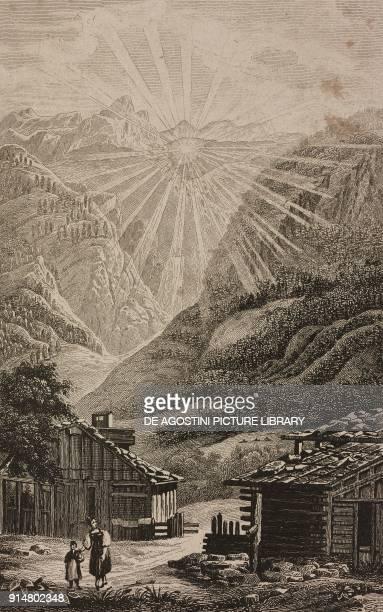SaintMartin Canton of Valais Switzerland engraving by Rouargue from Histoire et description de la Suisse et du Tyrol by Marie Philippe Aime de...