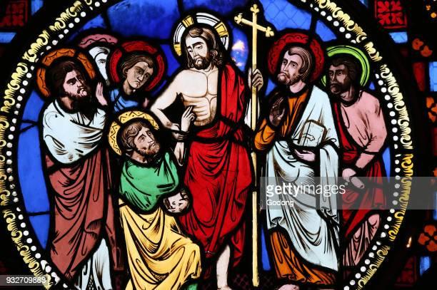 SaintMartin d'Ainay Basilica Stained glass window Jesus and Saint Thomas Lyon France
