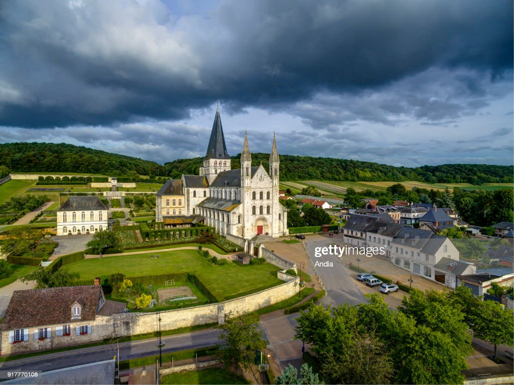 Saint-Martin-de-Boscherville (Normandy, northern France): Saint-Georges de Boscherville Abbey, with its abbey church.