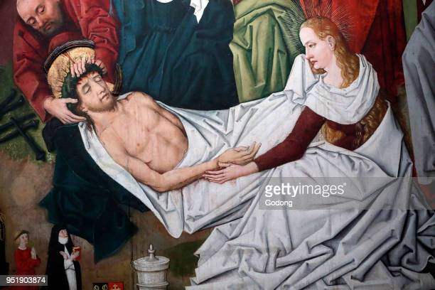 SaintPierre le Vieux Catholic Church Christ in his Passion Jesus is placed in the tomb Painting by Henri Lutzelman 15th century Strasbourg France
