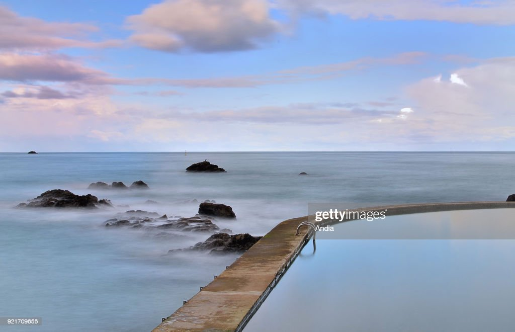 Saint-Quay-Portrieux, outer salt water pool by the sea. : News Photo