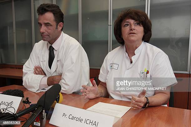 Saint-Roch hospital's chief surgeon Patrick Baque and resuscitation chief Carole Ichai give a press conference, on May 7, 2014 in Nice, on the case...