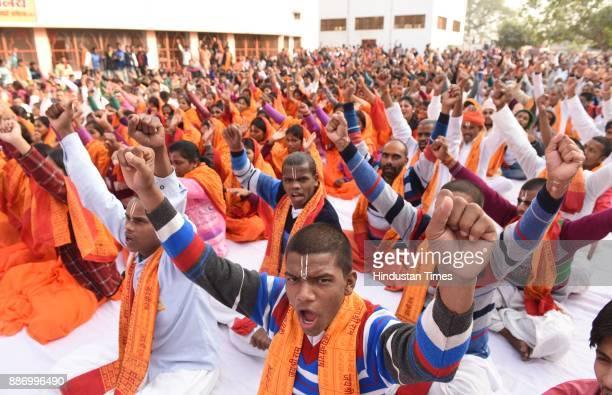 VHP saints at Karsevak Puram taking park in Hindu Swabhiman Sammelan organized by the VHP to mark 25th anniversary Babri Masjid demolition on...