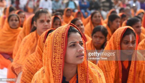 VHP saints at Karsevak Puram taking park in Hindu Swabhiman Sammelan organized by the VHP to mark 25th anniversary Babri Masjid demolition on...