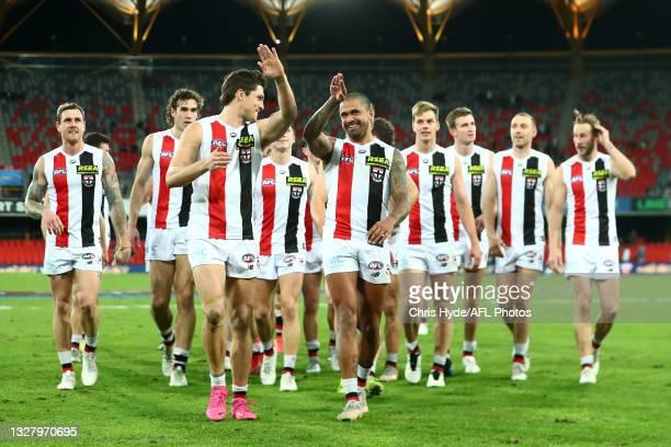 Saints celebrate winning the round 17 AFL match between Brisbane Lions and St Kilda Saints at The Gabba on July 10, 2021 in Brisbane, Australia.