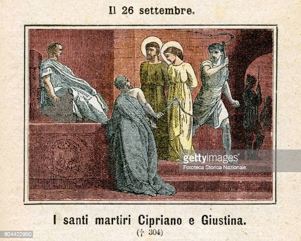 Saints Cyprian and Justina were two Christian martyrs venerated as saints by the Catholic Church and the Orthodox Church Colored engraving from...