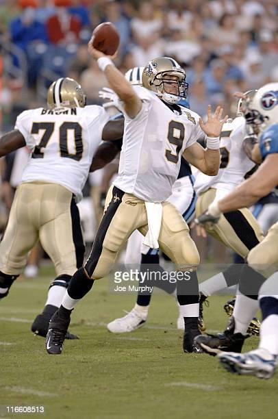 Saints Drew Brees throws downfield during first half action between The Tennessee Titans and the New Orleans Saints at The Coliseum in Nashville,...