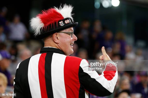 Saints fan shows his support during the round eight AFL match between the Fremantle Dockers and the St Kilda Saints at Optus Stadium on May 12 2018...