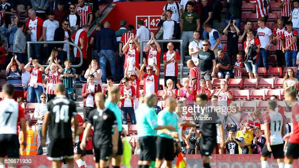 Saints fans during the preseason friendly between Southampton FC and Sevilla at St Mary's Stadium on August 5 2017 in Southampton England