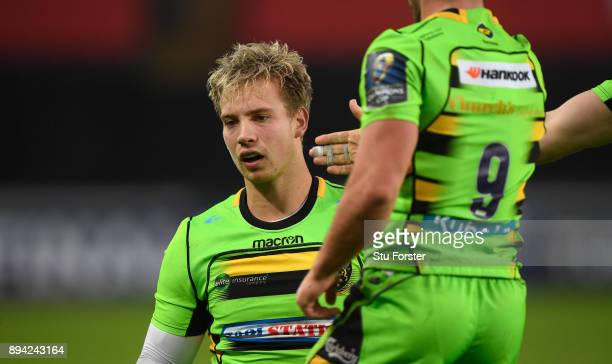 Saints fullback Harry Mallinder reacts after a try chance goes begging during the European Rugby Champions Cup match between Ospreys and Northampton...