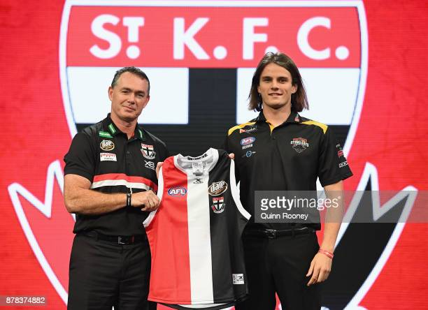 Saints head coach Alan Richardson poses with Hunter Clark during the 2017 AFL Draft at Sydney Showgrounds on November 24 2017 in Sydney Australia