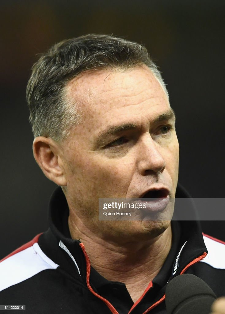 Saints head coach Alan Richardson talks to the media during the round 17 AFL match between the St Kilda Saints and the Essendon Bombers at Etihad Stadium on July 14, 2017 in Melbourne, Australia.