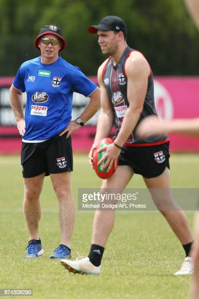 Saints head coach Alan Richardson tries to distract Paddy McCartin of the Saints who walks in to kick the ball during a St Kilda Saints AFL training...