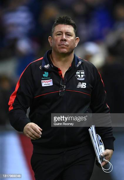 Saints head coach Brett Ratten walks around the boundary during the round 9 AFL match between the St Kilda Saints and the Geelong Cats at Marvel...