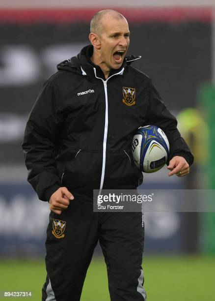 Saints Interim head coach Alan Dickens reacts before the European Rugby Champions Cup match between Ospreys and Northampton Saints at Liberty Stadium...