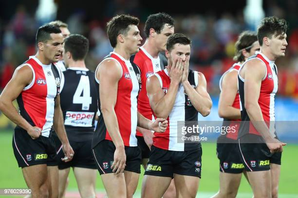 Saints leave the field at half time during the round 13 AFL match between the Gold Coast Suns and the St Kilda Saints at Metricon Stadium on June 16,...