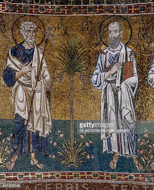 Saints Peter and Paul mosaic by the VenetianRavenna school 12th century apse of Santa Maria Trieste Cathedral Trieste FriuliVenezia Giulia Italy