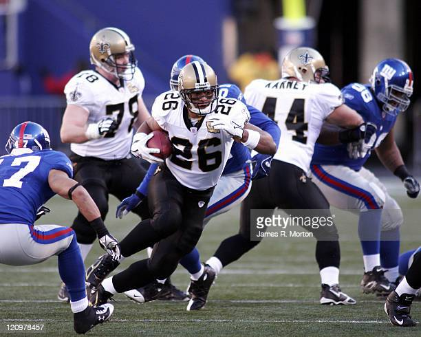 Saints Running back Deuce McAllister in action during the New Orleans Saints victory over the New York Giants by the score of 30 to 7 on December...