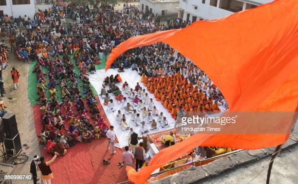 VHP saints taking part in Hindu Swabhiman Sammelan organized by the VHP to mark 25th anniversary of Babri Masjid demolition at Karsevak Puram on...