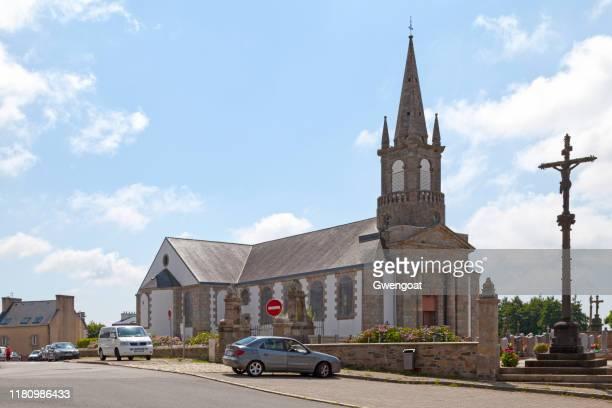 saint-sané church of plouzané - gwengoat stock pictures, royalty-free photos & images
