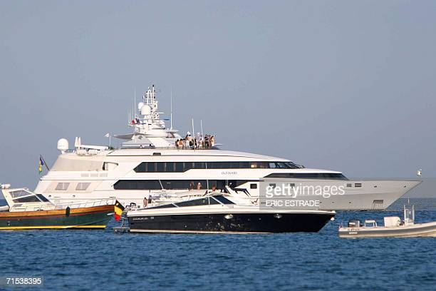 A picture taken 29 July 2006 in SaintTropez Southern France shows Altavita the yacht on which Canadian actress Pamela Anderson and US musician Kid...