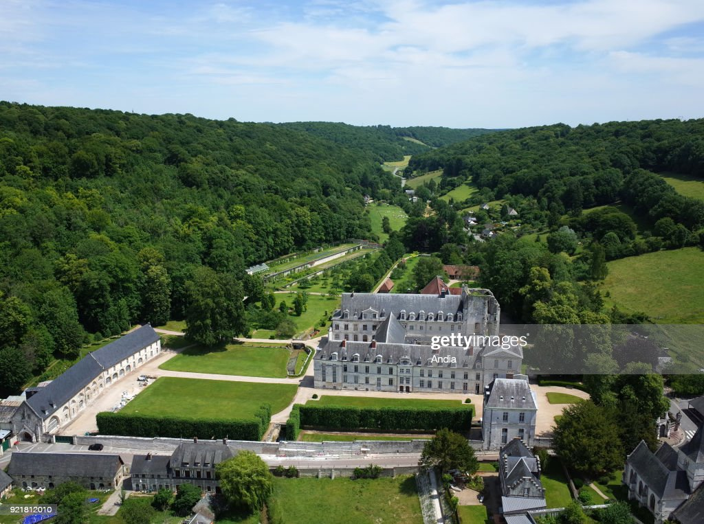 Saint-Wandrille-Rancon (Normandy, northern France), on : aerial view of the Fontenelle Abbey (or the Abbey of St Wandrille).
