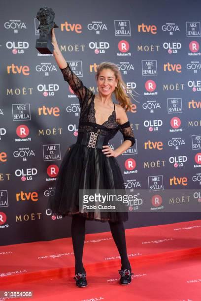 Saioa Lara holds the best costume design award award for the film Handia during the 32nd edition of the Goya Cinema Awards at Madrid Marriott...