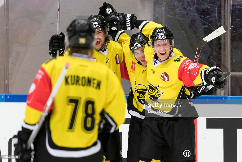 SaiPa Lappeenranta after goal Eetu Koski #63 of SaiPa Lappeenranta Mikael Kuronen #78 of SaiPa Lappeenranta during the Champions Hockey League match between Lulea Hockey and SaiPa Lappeenranta at Coop Norrbotten Arena on August 23, 2016 in Lulea, Sweden.