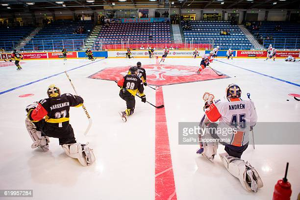 SaiPa Lappeenranta and Vaxjo warm up before the Champions Hockey League Round of 16 match between SaiPa Lappeenranta and Vaxjo Lakers at Kisapuisto...