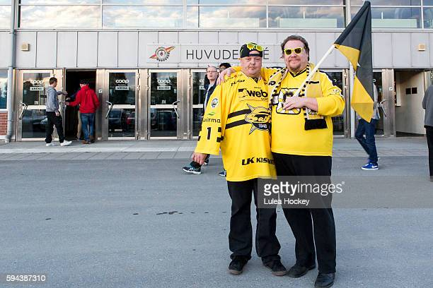 SaiPa Lappeenranta fans infront of Coop Norrbotten Arena during the Champions Hockey League match between Lulea Hockey and SaiPa Lappeenranta at Coop...