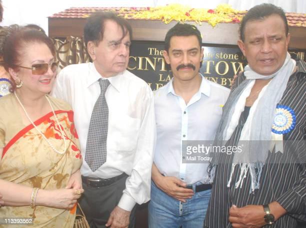 Saira Banu Dilip Kumar Aamir Khan and Mithun Chakraborty at the foundation stone laying ceremony of CINTAA Tower at Andheri in Mumbai