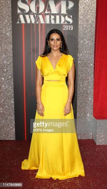 Saira Khan arrives on the red carpet during The British Soap Awards 2019 at The Lowry, Media City, Salford in Manchester.