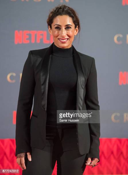 Saira Khan attends the World Premiere of season 2 of Netflix The Crown at Odeon Leicester Square on November 21 2017 in London England