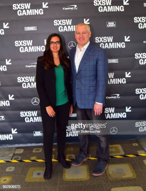 Saira Mueller and Brendan Donohue attend Hoops and Gaming Why the NBA Started an Esports League during SXSW at Austin Convention Center on March 16...