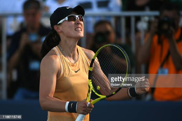 Saisai Zheng of China celebrates after defeating Aryna Sabalenka of Belarus in the singles final of the Mubadala Silicon Valley Classic at the San...