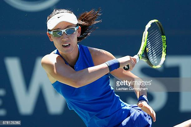 Saisai Zheng of China competes against Alize Cornet of France during day three of the Bank of the West Classic at the Stanford University Taube...