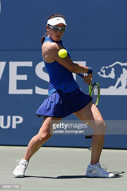 Saisai Zheng of China competes against Johanna Konta of Great Britain during day five of the Bank of the West Classic at the Stanford University...