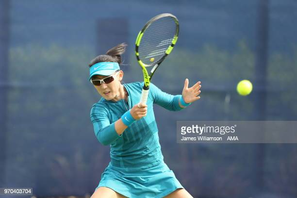 Saisai Zheng of China during Day 1 of the Nature Valley open at Nottingham Tennis Centre on June 9 2018 in Nottingham England