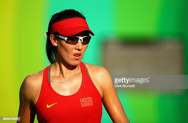 Saisai Zheng of China during her straight sets victory against Agnieszka Radwanska of Poland in their first round match on Day 1 of the Rio 2016...