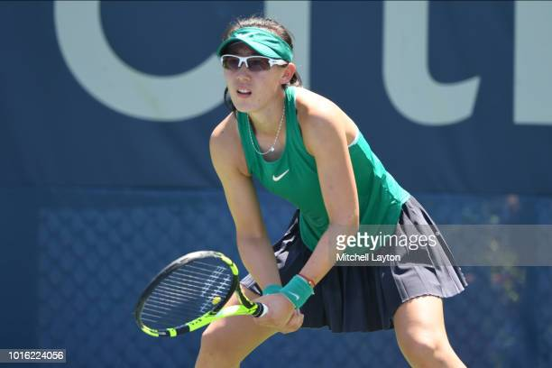 Saisai Zheng of China prepares for a shot from Allie Kiick of the US during a quarterfinal match on Day Eight of the Citi Open at the Rock Creek...